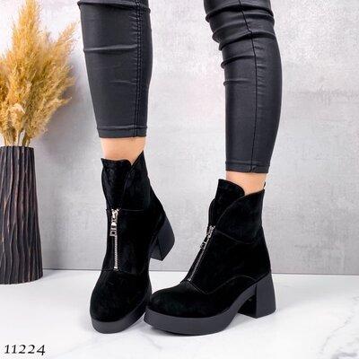 Женские натуральные замшевые зимние ботинки впереди на молнии на устойчивом каблуке