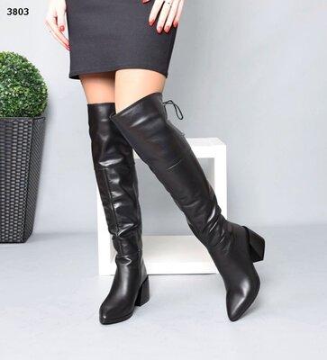 Женские натуральные замшевые кожаные лакированные сапоги ботфорты на устойчивом каблуке
