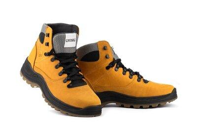 Мужские ботинки кожаные зимние желтый-нубук CrosSAV 328