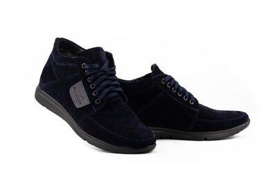 Мужские ботинки замшевые зимние синие Vankristi 940