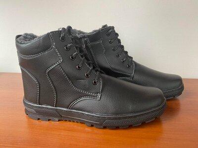 Ботинки мужские зимние черные - черевики чоловічі зимові чорні