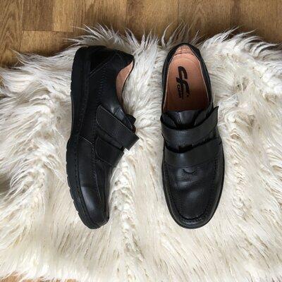 Натур. кожаные туфли на липучках мокасины