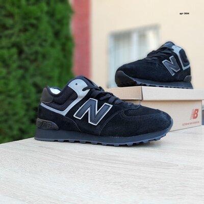 Зимние мужские кроссовки New Balance 574, мех, черные.