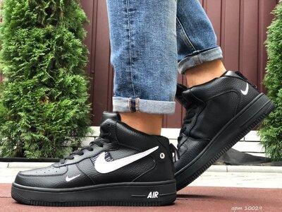 Nike Air Force кроссовки зимние мужские черные с белым 10029