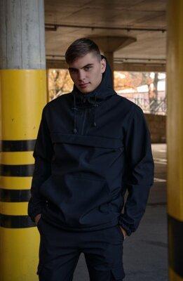 Куртка анорак мужская осенняя черная Softshell Walkman демисезонная весенняя Intruder Ключница в под