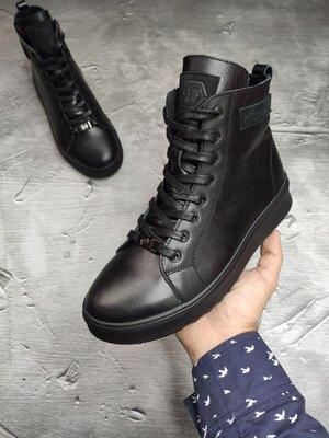 Зимние кожаные мужские ботинки кроссовки на меху Philipp Plein