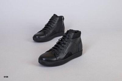 код 6106 Демисезонные мужские ботинки на шнурках кожаные черные, р. 40 - 45