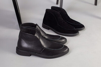 код 5223 Черные демисезонные ботинки, лоферы кожаные замшевые, р. 40 - 45