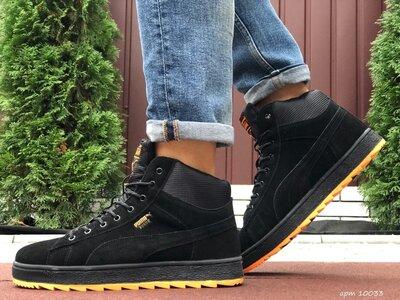 Puma Suede зимние мужские кроссовки черные с оранжевым 10033