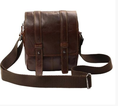 Кожаная сумка коричневая на длинной ручке