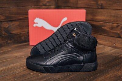 Продано: Мужские зимние кожаные ботинки Puma Black Leather