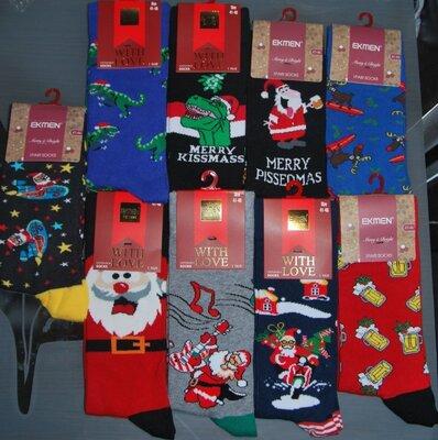 Мужские новогодние носки 41-46 турция дед мороз санта динозавр веселые принты