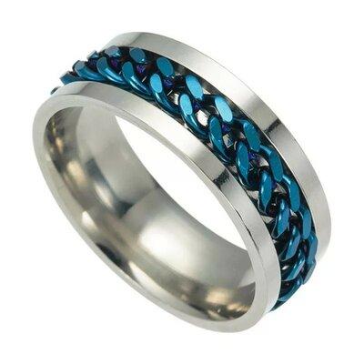 Серебристое кольцо из нержавеющей стали с цепочкой спиннер мужское женское