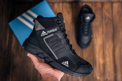 Мужские зимние кожаные ботинки Adidas TERREX Black Grey