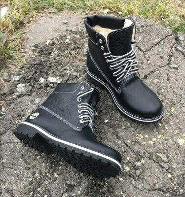 Черные женские ботиночки натур.кожа,мех тракторная подошва