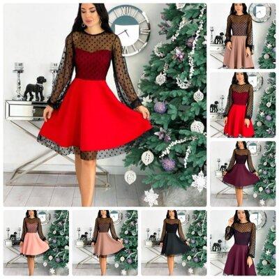Продано: Коктейльное женское платье мини верх сетка в горох с длинным рукавом низ юбка солнце клеш 5 цветов