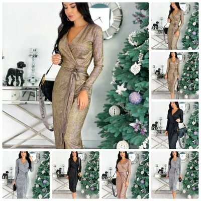 Продано: Стильное женское платье халат на запах по фигуре из люрекса длина миди 4 цвета С М