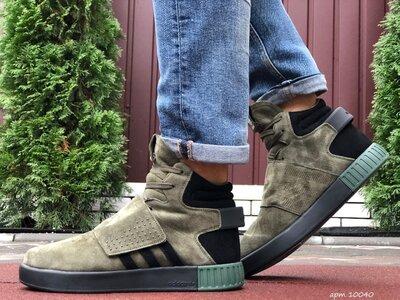 Зимние мужские кроссовки Adidas Tubular, темно зеленые, мех, зима