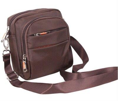 Маленькая мужская сумка на плечо, на пояс коричневая