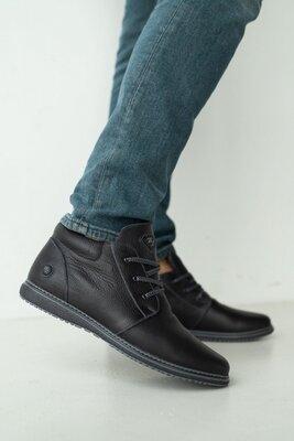Мужские ботинки кожаные зимние черные, зимние мужские ботинки
