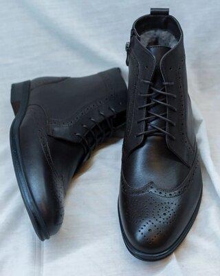 Мужские кожаные зимние ботинки броги бронированные классические стильные теплые сапоги отменное каче