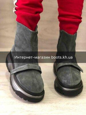 Продано: Женские зимние ботинки на платформе натуральная замша серые на змейке