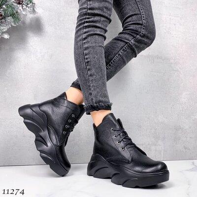 Женские натуральные замшевые кожаные ботинки на шнуровке на высокой подошве