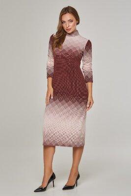 Платье гольф из трикотажа Lipar Большие размеры. Бежевое/бордо/голубое