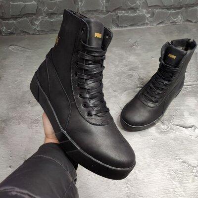 Мужские зимние кожаные качественные теплые ботинки берцы сапоги высокие кроссовки кеды спортивные