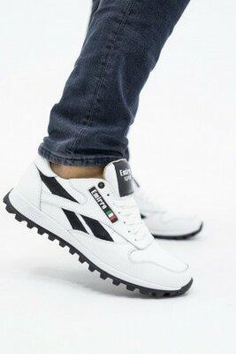 Мужские кроссовки кожаные весна/осень белые-черные Lions R16 Emirro White