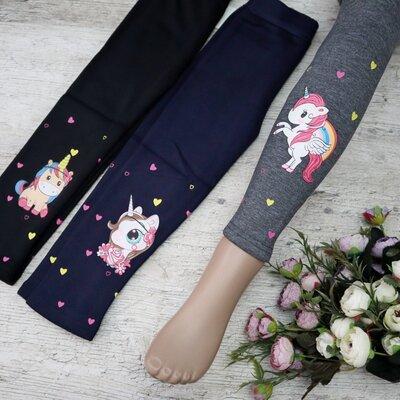 Якісні теплі зимові лосини з єдинорожками, для дівчинки. Хіт 2021