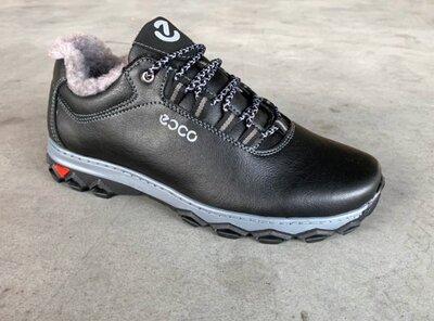 Ботинки кроссовки зимние на меху черные КВ-500