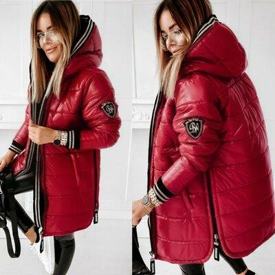 Куртка зимняя, тренд 2020, красная и чёрная, 44 - 58