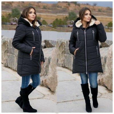 Куртка зимняя на овчине, чёрный и синий, 48 - 62