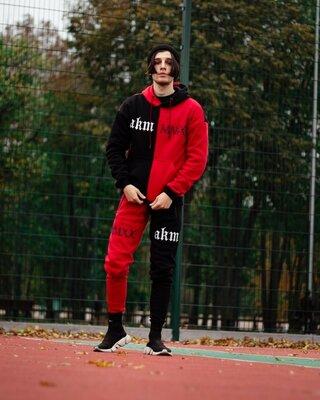 Утепленный спортивный костюм Sad Smile чёрно-красный