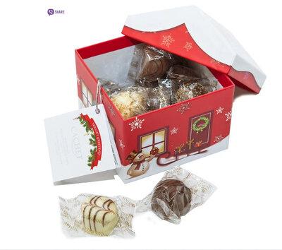 Шоколадное ассорти в домике Cachet Christmas House Milk / Dark and White 250 г