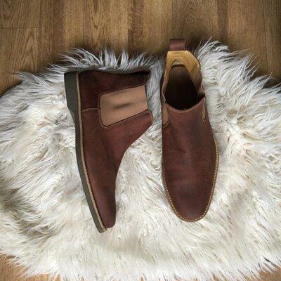 Продано: Натур. кожаные сапоги ботинки челси нубук