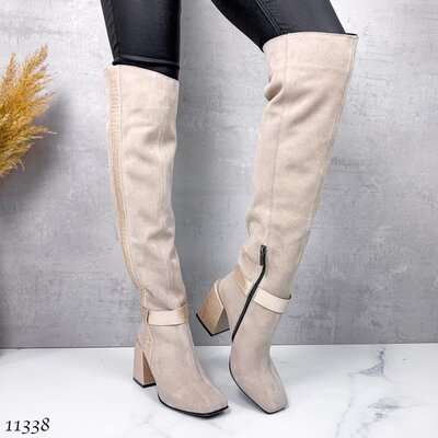 Женские натуральные замшевые бежевые сапоги ботфорты на устойчивом каблуке