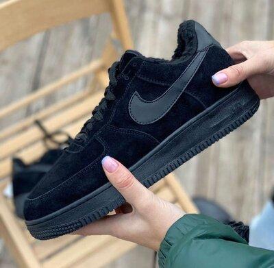 Зимние мужские кроссовки Nike Air Force, черные, замш, мех