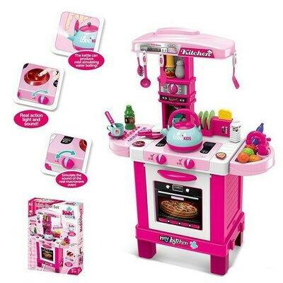 Кухня 008-939 игрушка детская высокая с паром посудой