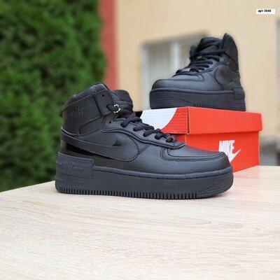 Зимние кроссовки Nike Air Force 1 Shadow черные, высокие, мех 36-41