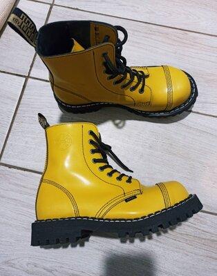 Высокие кожаные ботинки steel,желтый цвет,41р,26.5,аналог dr.martens
