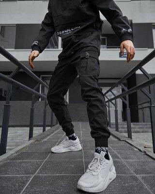 Теплые брюки карго мужские Пушка Огонь Slot черные