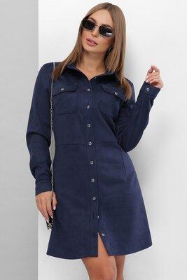 44-52. Модное платье из эко-замши на пуговицах с карманами на груди.