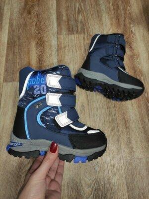 Продано: 27 - 30 р Зимние термо сапожки ботинки сапоги на мальчика tom.m Том м зима синие с липучками