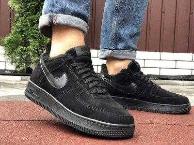 Зимние мужские кроссовки Nike Air Force,черные,на меху