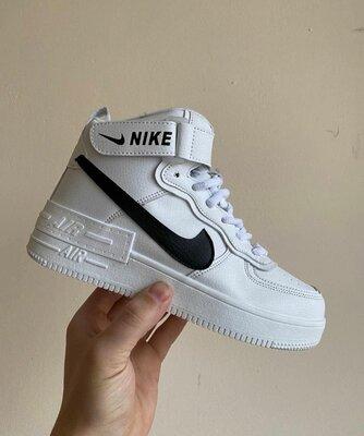 Зимние женские кроссовки Nike Air Force 1 Shadow, белые, мех
