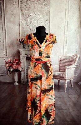 Продано: Стилтное яркое платье шифоновое миди