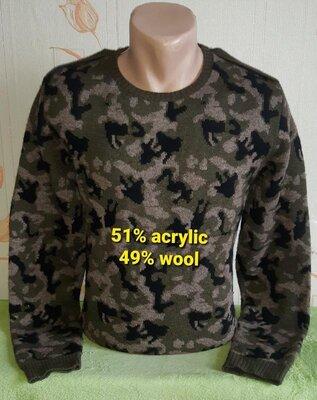 Камуфляжный шерстяной свитер zara man, молниеносная отправка
