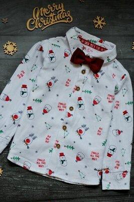 12-18 Новогодняя рубашка F&F. В комплекте с бабочкой.